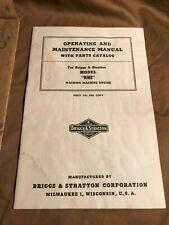 Vintage 1950 Briggs Amp Stratton Model Wmb Washing Machine Engine Manual