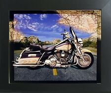 Motorcycle on Highway Riders Bike Art Print Contemporary Black Framed Picture