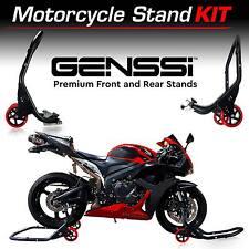 PRO Motorcycle Sport Bike SWINGARM SPOOL Fork FRONT & REAR DUAL LIFT STANDS