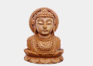 Finely Handcarved Buddha Wooden Bust