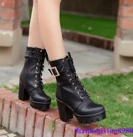 Women's Block High Heels Lace Up Platform Buckle Round Toe Shoes Ankle Boot Sz