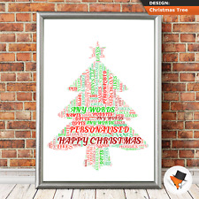 Personalised Friend Christmas Gifts Cards Framed A3 A4 Presents Christmas Tree