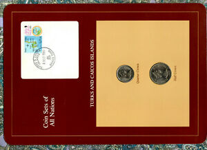 Coin Sets of All Nations Turks & Caicos UNC w/card 1/2 & 1/4 Crown 1981 1DEC1981