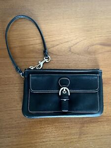 Vintage COACH Black Soft Leather Wristlet White Stitching Top Zip Clutch