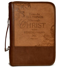 Bible Cover-Heat Stamp I CAN-Brown-X Large