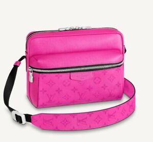 Louis Vuitton Messenger Outdoor Taigarama Fuchsia Pink Monogram LV Authentic New