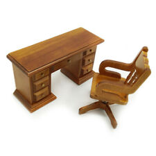 Dollhouse Furniture Study Room Desk Swivel Chair Set 1:12 Miniature Boss Seat