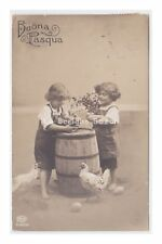 AMAG 1917 AK Pasqua cartolina d'epoca foto bambini botte galline pulcini uova