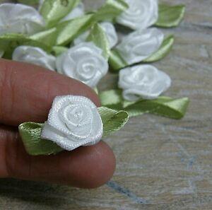 Rose buds, satin ribbon flowers rosebuds flowers,scrap booking 30x17mm 50 pack