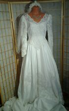 P.C. MARY'S #6872 WEDDING GOWN with VEIL and BRIDAL PURSE, size 14, NEW w/tags