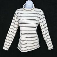 Apt. 9 Turtleneck Shirt Top Womens L White Black Stripes Long Sleeve SOFT & COZY
