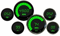 Complete Universal 6 Gauge Set GREEN LEDs Black Bezels Multi Gauge Set W Senders