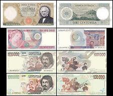 RIPROD. DELLE 100.000 LIRE ITALIANA 100000 MANZONI BOTTICELLI CARAVAGGIO FDS UNC