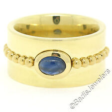 Georg Jensen 18K Yellow Gold Bezel Cabochon Sapphire Wide Heavy Band Ring Sz6.5