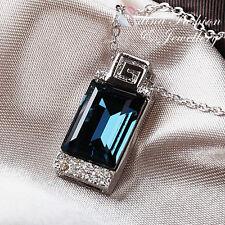 18K White Gold GP Made With Swarovski Crystal Rectangular Cut Sapphire Necklace