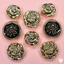Buttons Galore Victorian Rose 4400a - Gold Roses Vintage Dress It Up Buttons