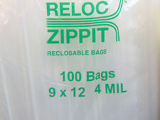 "4MIL 9x12 Zip Lock Bags 400 Large Heavy Duty Thick  9"" x 12"" Clear Reclosable"
