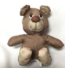 "Potpourri Press Tan Brown Nylon Plush Stuffed Teddy Bear Vintage 1988 6"""