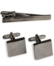Textured Cuff Links & Tie Bar Set $80 Perry Ellis Men'S Gray Gunmetal Square