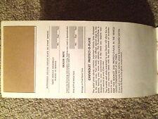 1968 Corvette Factory GM Original Owner Protection Plan Blank w/ No Plate RARE !