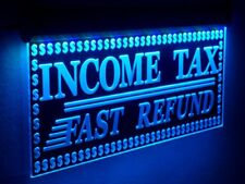 "Income Tax Fast Refund Animated Led Open Signs Preparation Neon Light 20""x10"""