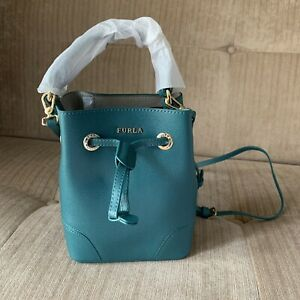 FURLA Malachite DARK Green Stacy Mini Cross Body Bucket Crossdody Bag BNWT