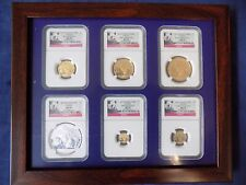 2013 CHINA 5 GOLD PANDA 1 SILVER, 6 COINS SET NGC MS 70 FIRST RELEASE