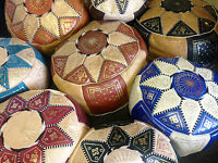 MOROCCAN LEATHER POUFFE HAND MADE FAIR TRADE BEST PRICE 100% GENUINE BRAND NEW