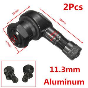 2Pcs Durable 11.3mm CNC Aluminum Black Motorcycle 90° Rim Wheel Tire Valve Stems