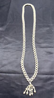 Vintage 1950's white  woven imitation pearl beaded long necklace tassel