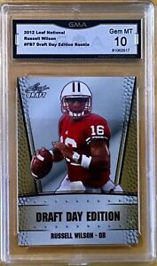 2012 Leaf National Draft Day #FB7 - RUSSELL WILSON - Rookie - GMA 10 Gem Mint