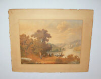 Antique 19th C 1850s Hudson River Valley Painting Watercolor Signed A.H. Brodman