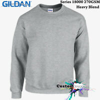 Gildan Sport Grey Heavy Blend Basic Sweat Sweater Jumper Sweatshirt Mens
