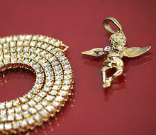"""14k Gold Plated Angel Side Stone Charm Pendant 24""""- 5mm 1 Row Tennis Necklace"""
