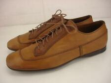 Prada Italy sz 8.5 US Men's 9.5 M Brown Tan Leather Shoes Oxford Lace-Up Sneaker