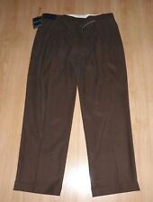 DESIGNER RALPH LAUREN CLASSIC FIT PANT BROWN SILK/COTTON CHINO TROUSERS W40 L32