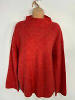 WOMENS NEXT ORANGE TURTLE NECK KNITTED CASUAL JUMPER SWEATER PULL OVER SIZE UK10