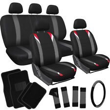 20pc Set Red Gray Black TRUCK Seat Cover Wheel + Low Back Buckets + Floor Mat 2A