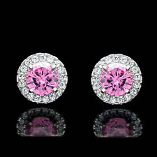2CT Halo Tourmaline Pink Created Diamond Earrings 14k White Gold Round Cut Studs