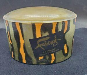 Vtg Faberge Tigress Bath Powder 5oz Open Dusting Puff