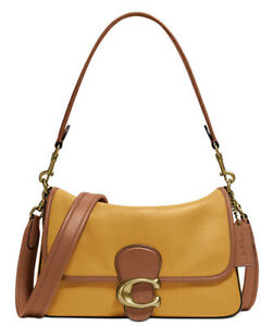 ❤️Coach Tabby Brass/Butter Soft Colorblocked Leather Shoulder Bag