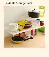 Foldable Stacking Storage Shelf Cabinet Rack Kitchen Bathroom Organizer Holder &