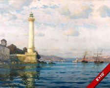 ISTANBUL TURKEY LIGHTHOUSE PORT & SHIPS SEASCAPE PAINTING ART REAL CANVAS PRINT