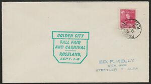"""Canada 1951 Special Event Cover: ROSSLAND, B.C. """"GOLDEN CITY - FALL FAIR - ph138"""