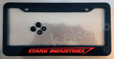Stark Industries Black License Plate Frame + Screw Caps Iron Man Fans