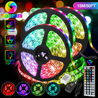 50FT 3528 Strip Light RGB LED SMD Remote Flexible Fairy Lights Room TV Party Bar
