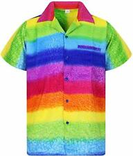 MENS RAINBOW HAWAIIAN SHIRT SHORT SLEEVE STAG BEACH HOLIDAY FANCY DRESS