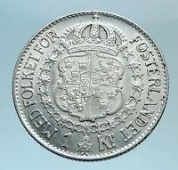 1935 Sweden GUSTAF V Silver Krona Crowned ARMS Antique Vintage Coin i78304
