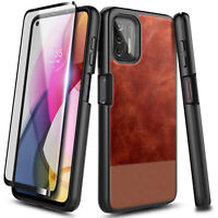 For Motorola Moto G Stylus (2021) Case, Shockproof Leather Cover +Tempered Glass