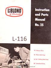 "LeBlond No. 25, 16"", 16/38"", 20"" Tool Room Lathe, Service & Instructions Manual"